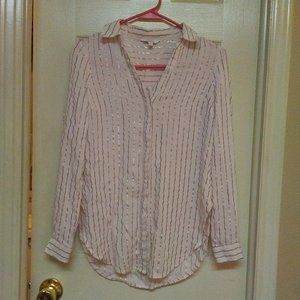 Candie's Rose Gold Striped Button Up Top